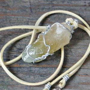 Green Calcite Necklace, Calcite Jewelry, Rough Gemstone Pendant, Raw Stone Jewelry, Yellow Gemstone, Raw Calcite Pendant, Bohemian Necklace | Natural genuine Calcite necklaces. Buy crystal jewelry, handmade handcrafted artisan jewelry for women.  Unique handmade gift ideas. #jewelry #beadednecklaces #beadedjewelry #gift #shopping #handmadejewelry #fashion #style #product #necklaces #affiliate #ad