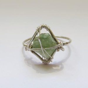 Shop Calcite Rings! Green Calcite Ring | Wire Ring | Wrapped Raw Stone | Minimalist Hippie Jewellery | Crystal Jewellery | Handmade by SilverGlassStone | Natural genuine Calcite rings, simple unique handcrafted gemstone rings. #rings #jewelry #shopping #gift #handmade #fashion #style #affiliate #ad