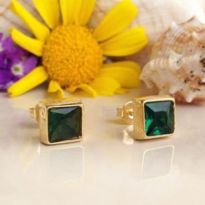 Shop Green Tourmaline Jewelry! Green Tourmaline Earrings – Square Earrings – Post Earrings – Delicate Studs – Simple Earrings – Gold Studs – Green Earrings | Natural genuine Green Tourmaline jewelry. Buy crystal jewelry, handmade handcrafted artisan jewelry for women.  Unique handmade gift ideas. #jewelry #beadedjewelry #beadedjewelry #gift #shopping #handmadejewelry #fashion #style #product #jewelry #affiliate #ad