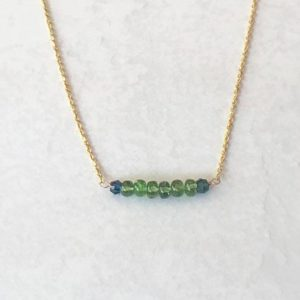 Shop Green Tourmaline Necklaces! Green Tourmaline Necklace, October Birthstone Necklace, Gemstone Bar Necklace, Dainty Green Tourmaline Necklace, Heart Chakra | Natural genuine Green Tourmaline necklaces. Buy crystal jewelry, handmade handcrafted artisan jewelry for women.  Unique handmade gift ideas. #jewelry #beadednecklaces #beadedjewelry #gift #shopping #handmadejewelry #fashion #style #product #necklaces #affiliate #ad