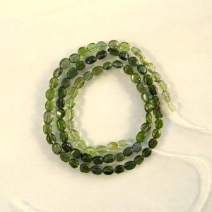 "Shop Green Tourmaline Beads! Shaded GREEN TOURMALINE smooth oval bead AA+ 4-5mm 15"" strand 