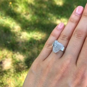 Shop Angel Aura Quartz Rings! Handmade Sterling Silver Ring with Natural Quartz Aura Angel Quartz Raw Stone Ring Rough Cut Ring Rock Rings Quartz Ring by MADEVA   Natural genuine Angel Aura Quartz rings, simple unique handcrafted gemstone rings. #rings #jewelry #shopping #gift #handmade #fashion #style #affiliate #ad