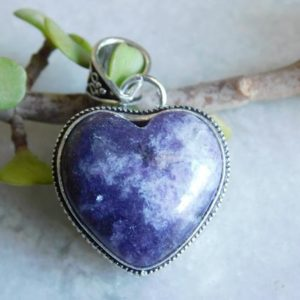 Shop Lepidolite Pendants! Heart shape lepidolite pendant* sterling Silver pendant* birthstone pendant*statement pendant* blue heart lepidolite gemstone pendant*D163 | Natural genuine Lepidolite pendants. Buy crystal jewelry, handmade handcrafted artisan jewelry for women.  Unique handmade gift ideas. #jewelry #beadedpendants #beadedjewelry #gift #shopping #handmadejewelry #fashion #style #product #pendants #affiliate #ad