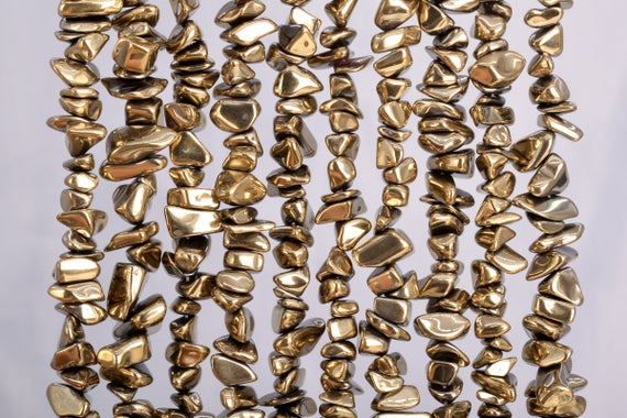 4x3-10x5mm Champagne Gold Hematite Beads Pebble Chips Grade Aaa Natural Gemstone Loose Beads (104783)