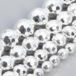 Shop Hematite Faceted Beads! 18k White Gold Tone Hematite Beads Grade AAA Natural Gemstone Micro Faceted Round Loose Beads 6MM 8MM 9-10MM 11-12MM Bulk Lot Options | Natural genuine faceted Hematite beads for beading and jewelry making.  #jewelry #beads #beadedjewelry #diyjewelry #jewelrymaking #beadstore #beading #affiliate #ad