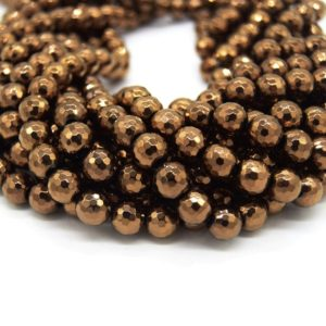 Shop Hematite Faceted Beads! Hematite Beads |   Faceted Metallic Bronze Round Natural Gemstone Beads – 4mm 6mm 8mm 10mm Available | Natural genuine faceted Hematite beads for beading and jewelry making.  #jewelry #beads #beadedjewelry #diyjewelry #jewelrymaking #beadstore #beading #affiliate #ad