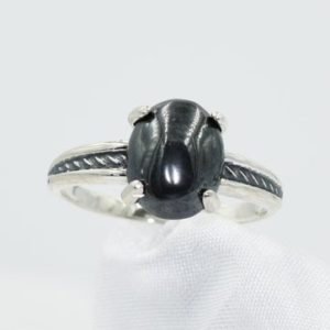 Shop Hematite Rings! Hematite Ring ,Genuine 10x8mm Oval Gemstone, Set in 925 Sterling Silver Antiqued Rope Mounting | Natural genuine Hematite rings, simple unique handcrafted gemstone rings. #rings #jewelry #shopping #gift #handmade #fashion #style #affiliate #ad