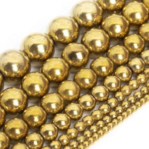 Gold Hematite Beads Grade AAA Natural Gemstone Round Loose Beads 2MM 3MM 4MM 6MM 8MM 9-10MM 12MM Bulk Lot Options | Natural genuine round Hematite beads for beading and jewelry making.  #jewelry #beads #beadedjewelry #diyjewelry #jewelrymaking #beadstore #beading #affiliate #ad