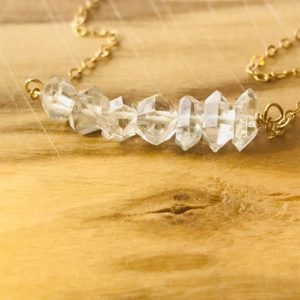 Shop Herkimer Diamond Necklaces! Herkimer Diamond Necklace – Dainty Raw Crystal Necklace – April Birthstone – Diamond Jewelry – Silver or Gold | Natural genuine Herkimer Diamond necklaces. Buy crystal jewelry, handmade handcrafted artisan jewelry for women.  Unique handmade gift ideas. #jewelry #beadednecklaces #beadedjewelry #gift #shopping #handmadejewelry #fashion #style #product #necklaces #affiliate #ad