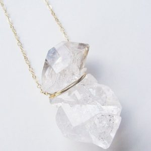 Double Herkimer Diamond Necklace, Diamond Gold Necklace, Delicate Raw Crystal Necklace | Natural genuine Gemstone necklaces. Buy crystal jewelry, handmade handcrafted artisan jewelry for women.  Unique handmade gift ideas. #jewelry #beadednecklaces #beadedjewelry #gift #shopping #handmadejewelry #fashion #style #product #necklaces #affiliate #ad