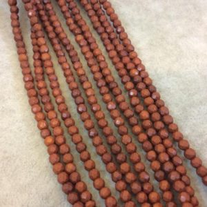"""Shop Howlite Faceted Beads! 4mm Faceted Dyed Brown Howlite Round/Ball Shape Beads – Sold by 15.75"""" Strands (Approx. 106 Beads) – Natural Semi-Precious Gemstone 