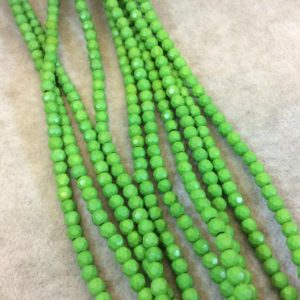 """Shop Howlite Faceted Beads! 4mm Faceted Dyed Lime Green Howlite Round/Ball Shape Beads – Sold by 15.75"""" Strands (Approx. 106 Beads) – Natural Semi-Precious Gemstone 
