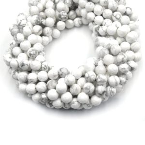 Shop Howlite Faceted Beads! Faceted White Howlite Beads | Faceted Round Natural Howlite Beads – 4mm 6mm 8mm 10mm 12mm | Natural genuine faceted Howlite beads for beading and jewelry making.  #jewelry #beads #beadedjewelry #diyjewelry #jewelrymaking #beadstore #beading #affiliate #ad