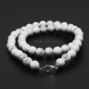 Shop Howlite Necklaces! Howlite Beaded Necklace, 8mm Howlite Natural White Beads Necklace, Howlite Gemstone Bead Necklace 18 Inch Smooth Round Beads Howlite Jewelry | Natural genuine Howlite necklaces. Buy crystal jewelry, handmade handcrafted artisan jewelry for women.  Unique handmade gift ideas. #jewelry #beadednecklaces #beadedjewelry #gift #shopping #handmadejewelry #fashion #style #product #necklaces #affiliate #ad