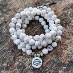 Shop Howlite Jewelry! Howlite Stone Necklace-108 Mala Beads Necklace-Knotted Mala Prayer Yoga Meditation Necklace-Natural White Gemstone Grounding Necklace | Natural genuine Howlite jewelry. Buy crystal jewelry, handmade handcrafted artisan jewelry for women.  Unique handmade gift ideas. #jewelry #beadedjewelry #beadedjewelry #gift #shopping #handmadejewelry #fashion #style #product #jewelry #affiliate #ad