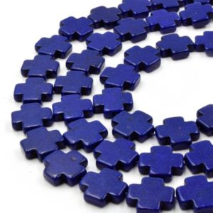 Shop Howlite Bead Shapes! Navy Howlite Beads | 15mm Navy Howlite Plus Shaped Beads with 1mm Holes | Natural genuine other-shape Howlite beads for beading and jewelry making.  #jewelry #beads #beadedjewelry #diyjewelry #jewelrymaking #beadstore #beading #affiliate #ad