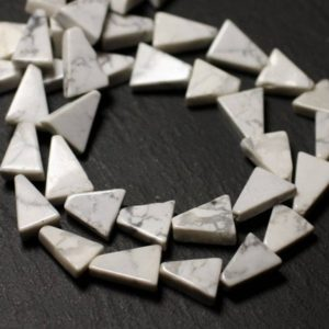 Shop Howlite Bead Shapes! Thread 30pc approx 33cm – beads of stone – Howlite Triangles 9-12mm – 8741140013131 | Natural genuine other-shape Howlite beads for beading and jewelry making.  #jewelry #beads #beadedjewelry #diyjewelry #jewelrymaking #beadstore #beading #affiliate #ad