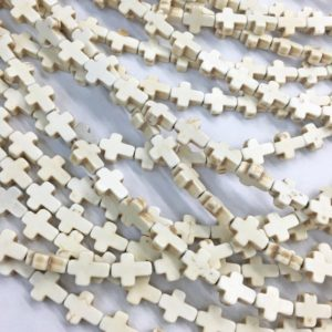 Shop Howlite Bead Shapes! White Howlite Cross Beads, Gemstone Beads, Wholesale Beads | Natural genuine other-shape Howlite beads for beading and jewelry making.  #jewelry #beads #beadedjewelry #diyjewelry #jewelrymaking #beadstore #beading #affiliate #ad