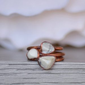 Shop Howlite Rings! Howlite Ring, Electroformed Jewelry, Layering Ring, White Gemstone Ring, Raw Crystal Jewelry, Unique Gift for Her, Bohemian Jewelry | Natural genuine Howlite rings, simple unique handcrafted gemstone rings. #rings #jewelry #shopping #gift #handmade #fashion #style #affiliate #ad