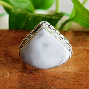 Shop Howlite Rings! Howlite Ring, Sterling Silver Ring, White howlite stone Ring, Statement Ring, Natural howlite Jewelry ring, gift for her, A144 | Natural genuine Howlite rings, simple unique handcrafted gemstone rings. #rings #jewelry #shopping #gift #handmade #fashion #style #affiliate #ad