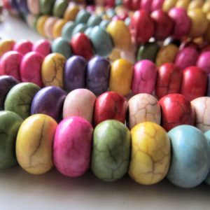 Shop Howlite Rondelle Beads! Howlite Beads 10 X 6mm Multi Colored Rondelles – 16 inch Strand | Natural genuine rondelle Howlite beads for beading and jewelry making.  #jewelry #beads #beadedjewelry #diyjewelry #jewelrymaking #beadstore #beading #affiliate #ad
