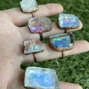 Shop Calcite Rings! Ice Cube Calcite Rings | Natural genuine Calcite rings, simple unique handcrafted gemstone rings. #rings #jewelry #shopping #gift #handmade #fashion #style #affiliate #ad