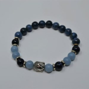 Inner Guidance Dumortierite Bracelet | Reiki Infused Mala Beads | Buddha | Protection | Angelite Bracelet | Love | Astral Travel | Harmony | Natural genuine Gemstone bracelets. Buy crystal jewelry, handmade handcrafted artisan jewelry for women.  Unique handmade gift ideas. #jewelry #beadedbracelets #beadedjewelry #gift #shopping #handmadejewelry #fashion #style #product #bracelets #affiliate #ad