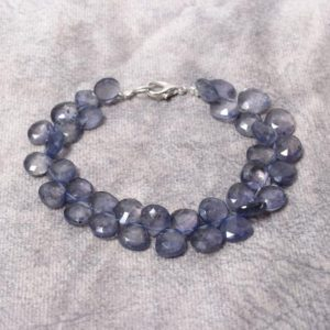 """Shop Iolite Bracelets! Iolite beaded bracelet, 8x9mm Natural Iolite Faceted Pear/ Heart Shape Bead Bracelet, Iolite Gemstone Bracelet,genuine Iolite 6-8"""" bracelet   Natural genuine Iolite bracelets. Buy crystal jewelry, handmade handcrafted artisan jewelry for women.  Unique handmade gift ideas. #jewelry #beadedbracelets #beadedjewelry #gift #shopping #handmadejewelry #fashion #style #product #bracelets #affiliate #ad"""