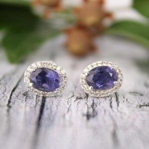 Shop Iolite Earrings! Blue Iolite Stud Earrings, september Birthstone, iolite Cluster Stud Earrings, blue Stud Earrings, bridesmaid Gift-vintage 925 Silver Studs | Natural genuine Iolite earrings. Buy crystal jewelry, handmade handcrafted artisan jewelry for women.  Unique handmade gift ideas. #jewelry #beadedearrings #beadedjewelry #gift #shopping #handmadejewelry #fashion #style #product #earrings #affiliate #ad
