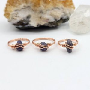 Shop Iolite Rings! Iolite Ring, Copper Wire Wrapped Ring | Natural genuine Iolite rings, simple unique handcrafted gemstone rings. #rings #jewelry #shopping #gift #handmade #fashion #style #affiliate #ad