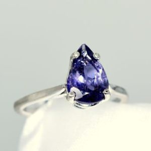 Shop Iolite Rings! Iolite Ring, Genuine Gemstone 10x7mm Faceted Pear, 1.36 carats, Something Blue, Set in 925 Sterling Silver Mounting | Natural genuine Iolite rings, simple unique handcrafted gemstone rings. #rings #jewelry #shopping #gift #handmade #fashion #style #affiliate #ad
