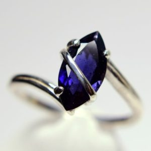 Shop Iolite Rings! Iolite Ring, Genuine Gemstone Marquise Cut 12x6mm 1.2ct, Something Blue, Bridal Jewelry, set In Sterling Silver Cross Over Bar Solitaire Ring | Natural genuine Iolite rings, simple unique alternative gemstone engagement rings. #rings #jewelry #bridal #wedding #jewelryaccessories #engagementrings #weddingideas #affiliate #ad