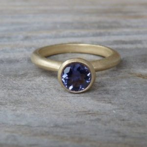 Matte 14k Yellow Gold and Navy Blue Iolite Solitaire Ring or Nesting Stacking Ring | Natural genuine Gemstone rings, simple unique handcrafted gemstone rings. #rings #jewelry #shopping #gift #handmade #fashion #style #affiliate #ad