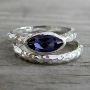 Shop Iolite Rings! Iolite Slice Ring in Hammered Argentium Silver, Made to Order | Natural genuine Iolite rings, simple unique handcrafted gemstone rings. #rings #jewelry #shopping #gift #handmade #fashion #style #affiliate #ad