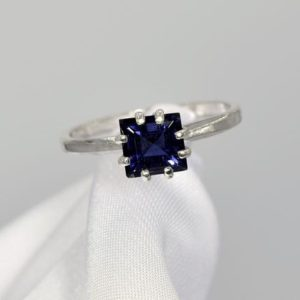 Shop Iolite Rings! Iolite Ring, Something Blue, Genuine Gemstone, .90ct 6mm Square Faceted Cut, Set in 925 Sterling Silver 8 Prong Ring Mounting | Natural genuine Iolite rings, simple unique handcrafted gemstone rings. #rings #jewelry #shopping #gift #handmade #fashion #style #affiliate #ad