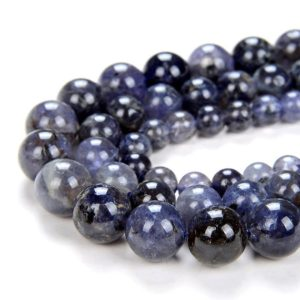 Shop Iolite Round Beads! Natural Deep Blue Iolite Gemstone Grade AA Round 5MM 6MM 7MM 8MM 10MM Loose Beads (D16) | Natural genuine round Iolite beads for beading and jewelry making.  #jewelry #beads #beadedjewelry #diyjewelry #jewelrymaking #beadstore #beading #affiliate #ad