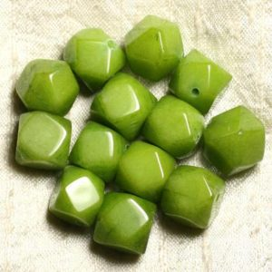 Shop Jade Chip & Nugget Beads! 2pc – Stone – Green Jade Beads Faceted Nuggets 14-15mm 4558550008626 Cubes | Natural genuine chip Jade beads for beading and jewelry making.  #jewelry #beads #beadedjewelry #diyjewelry #jewelrymaking #beadstore #beading #affiliate #ad
