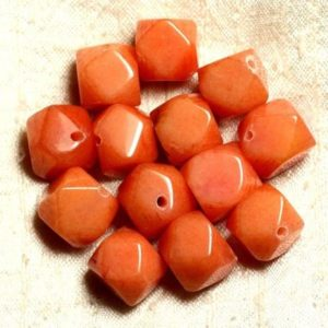Shop Jade Chip & Nugget Beads! 2pc – Stone – Orange Jade Beads Faceted Nuggets 14-15mm 4558550008633 Cubes | Natural genuine chip Jade beads for beading and jewelry making.  #jewelry #beads #beadedjewelry #diyjewelry #jewelrymaking #beadstore #beading #affiliate #ad