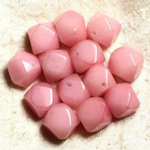 Shop Jade Chip & Nugget Beads! 2pc – Jade Stone – Rose Faceted Nuggets 14-15mm 4558550004833 Cubes | Natural genuine chip Jade beads for beading and jewelry making.  #jewelry #beads #beadedjewelry #diyjewelry #jewelrymaking #beadstore #beading #affiliate #ad