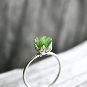 Unique Nephrite Jade Ring, March Green Jade Jewelry, Uncut Gemstone Engagement Ring, Silver Lotus Flower Ring, Rough Gem Botanical Jewelry | Natural genuine Gemstone rings, simple unique alternative gemstone engagement rings. #rings #jewelry #bridal #wedding #jewelryaccessories #engagementrings #weddingideas #affiliate #ad