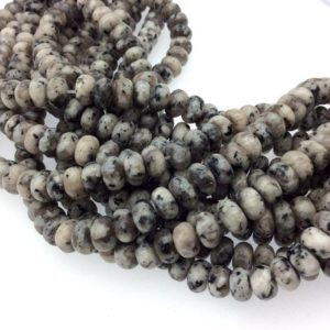 """Shop Jade Rondelle Beads! 5mm X 8mm Smooth Dyed Mottled Gray Jade Rondelle Shaped Beads With 1mm Holes – Sold By 15.5"""" Strands ( ~77 Beads) – Quality Gemstone 