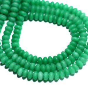 Shop Jade Rondelle Beads! Wire 39cm 112pc env – stone beads – Jade Rondelles 5x3mm green Empire matte frosted | Natural genuine rondelle Jade beads for beading and jewelry making.  #jewelry #beads #beadedjewelry #diyjewelry #jewelrymaking #beadstore #beading #affiliate #ad