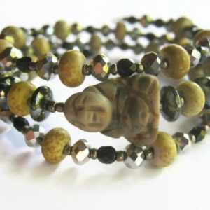 Buddha Gemstone Bracelet, Triple Stacking Bracelet, Picasso Jasper Bracelet, Memory Wire Bracelet,  Fire Polished Crystal, Heart Chakra | Natural genuine Gemstone bracelets. Buy crystal jewelry, handmade handcrafted artisan jewelry for women.  Unique handmade gift ideas. #jewelry #beadedbracelets #beadedjewelry #gift #shopping #handmadejewelry #fashion #style #product #bracelets #affiliate #ad