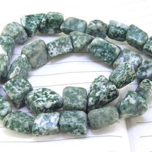"""Shop Jasper Chip & Nugget Beads! One Full Strand — Nugget Green Jasper  Beads —– 10mmx15mm —– about 28Pieces —– gemstone beads— 15.5"""" in length 