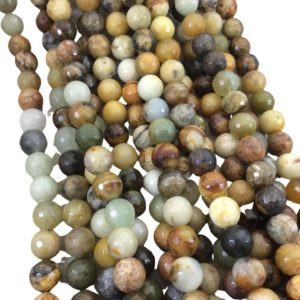 """Shop Jasper Faceted Beads! 10mm Faceted Natural Flower Jasper Round/Ball Shaped Beads with 1mm Holes – Sold by 15.75"""" Strands (Approx. 39 Beads) – Quality Gemstone 