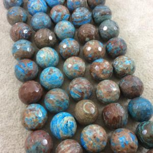 """Shop Jasper Faceted Beads! 14mm Faceted Finish Enhanced """"Blue Sky"""" Calsilica Jasper Round/Ball Shaped Beads with 1mm Holes – Sold by 15"""" Strands (Approx. 32 Beads) 