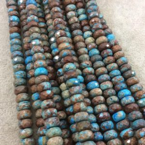 """Shop Jasper Faceted Beads! 5mm x 8mm Faceted Finish Enhanced """"Blue Sky"""" Calsilica Jasper Rondelle Shaped Beads with 1mm Holes – 15.25"""" Strands (Approx. 79 Beads) 