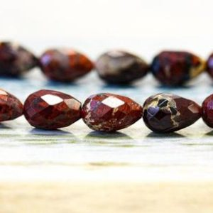 Shop Jasper Faceted Beads! M/ Poppy Jasper 7×10 Faceted Teardrop Loose Bead  Brownish Red color Jasper with unique pattern Bulk wholesale discount @EARTHSTONE.COM | Natural genuine faceted Jasper beads for beading and jewelry making.  #jewelry #beads #beadedjewelry #diyjewelry #jewelrymaking #beadstore #beading #affiliate #ad