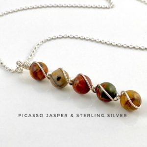 Shop Jasper Necklaces! picasso jasper necklace with sterling silver, self-care, anxiety crystal | Natural genuine Jasper necklaces. Buy crystal jewelry, handmade handcrafted artisan jewelry for women.  Unique handmade gift ideas. #jewelry #beadednecklaces #beadedjewelry #gift #shopping #handmadejewelry #fashion #style #product #necklaces #affiliate #ad