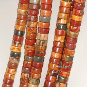 Shop Jasper Bead Shapes! 6x3mm Picasso Jasper Gemstone Grade AAA Heishi Loose Beads 16 inch Full Strand (90184155-356) | Natural genuine other-shape Jasper beads for beading and jewelry making.  #jewelry #beads #beadedjewelry #diyjewelry #jewelrymaking #beadstore #beading #affiliate #ad